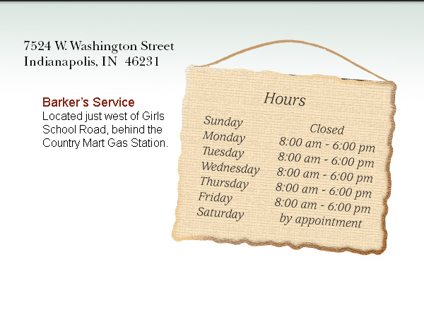 hours of operation for Barker's Service Auto Care